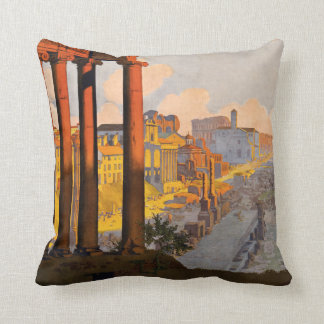 Rome Italy vintage travel throw pillow