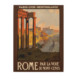 Rome Italy vintage travel wood canvas