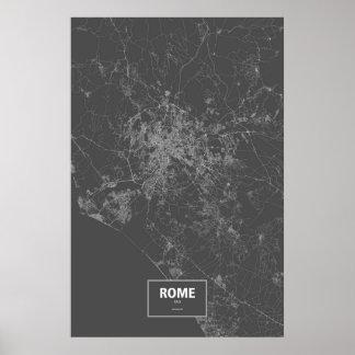 Rome, Italy (white on black) Poster