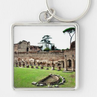Rome ruins Silver-Colored square key ring