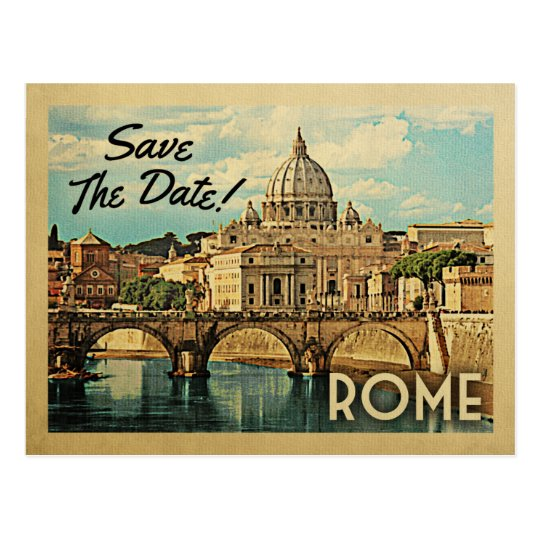 Rome Save The Date Vintage Italy Postcard