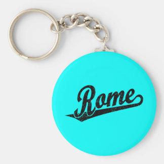 Rome script logo in black distressed basic round button key ring