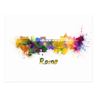 Rome skyline in watercolor postcard