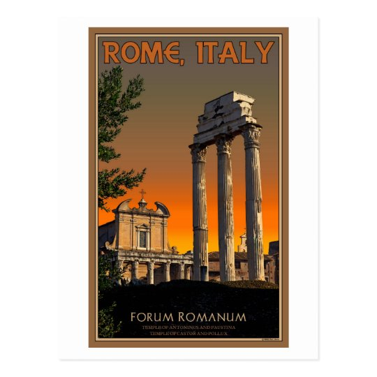 Rome - Temple Ruins in Forum Romanum Postcard
