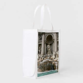 Rome the Coliseum in Moonlight and Trevi Fountain Reusable Grocery Bag