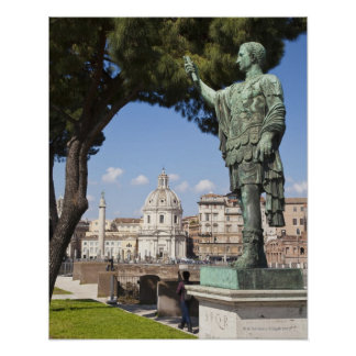 Rome, the Forum, statue of Cesar Poster