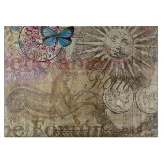 Rome Vintage Italy Travel Collage Cutting Board