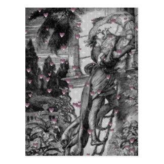 Romeo & Juliet Vintage Valentine Hearts Postcard
