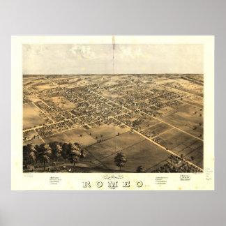 Romeo Michigan 1868 Antique Panoramic Map Poster
