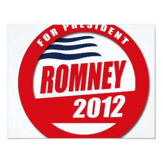 """Romney 2012 button 4.25"""" x 5.5"""" invitation card"""