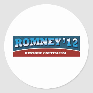 Romney- Restore Capitalism Round Stickers