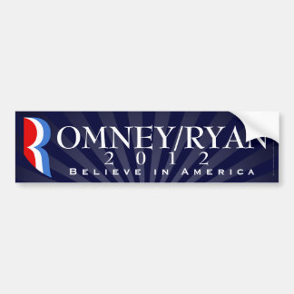 Romney/Ryan 2012, Believe in America, Blue Decal Bumper Sticker