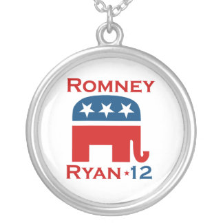 ROMNEY RYAN 2012 GOP SILVER PLATED NECKLACE
