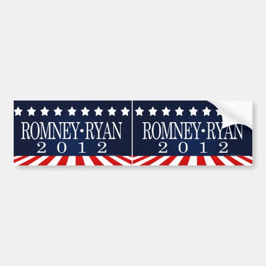 Romney Ryan 2012 Perspective Stripes Bumper Sticker