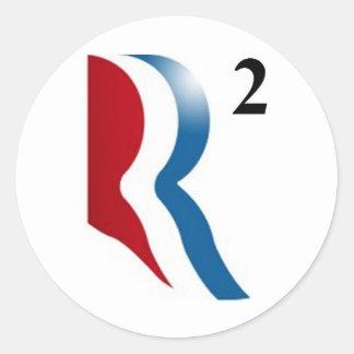 "Romney & Ryan 2012 - ""R squared"" Classic Round Sticker"