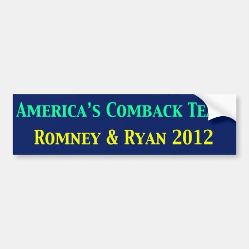 Romney & Ryan Americas Come Back Team Bumper Stickers