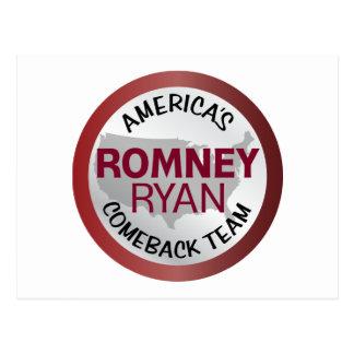 Romney Ryan America's Comeback Team Postcard