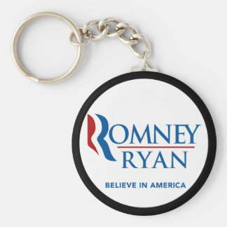 Romney Ryan Believe In America Black Border Basic Round Button Key Ring