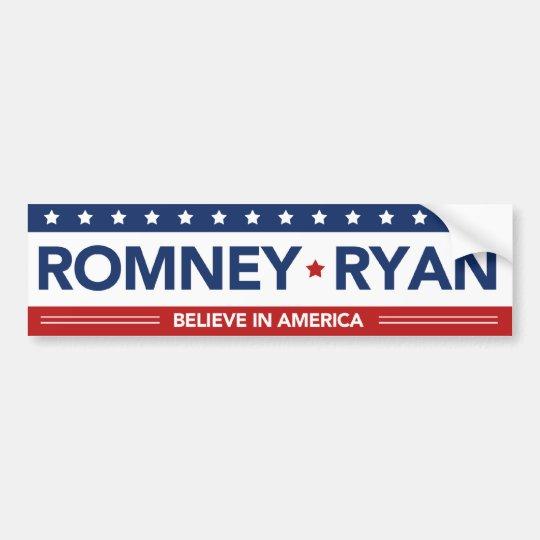 Romney Ryan Believe In America Flag Bumper Sticker