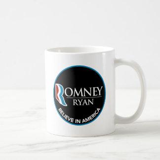 Romney Ryan Believe In America Round Black Coffee Mug