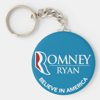 Romney Ryan Believe In America Round Blue Basic Round Button Key Ring