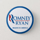 Romney Ryan Believe In America Round Blue Border 6 Cm Round Badge