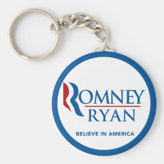 Romney Ryan Believe In America Round Blue Border Basic Round Button Key Ring