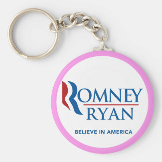 Romney Ryan Believe In America Round (Pink Border) Basic Round Button Key Ring