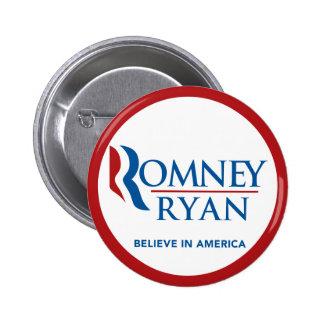 Romney Ryan Believe In America Round (Red Border) 6 Cm Round Badge