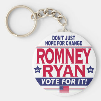 Romney Ryan Hope Change Basic Round Button Key Ring