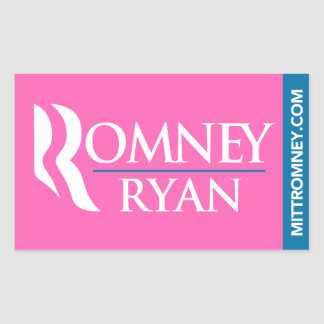 Romney Ryan Logo Sticker Rectangle Pink