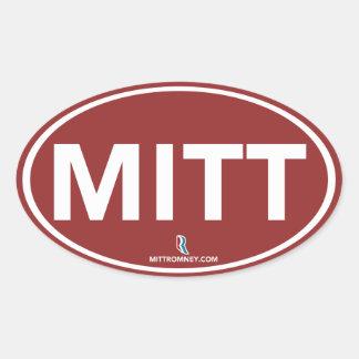 Romney Ryan Mitt Oval Sticker (Red)