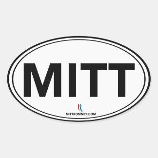 Romney Ryan Mitt Oval Sticker (White / Black)