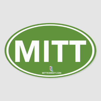 Romney Ryan Mitt Sticker Oval (Green)