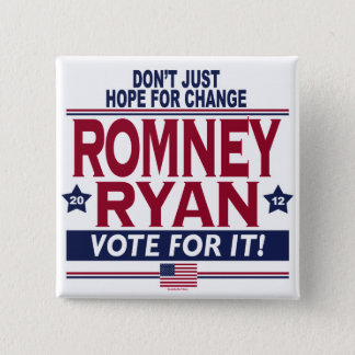 Romney Ryan Real Hope 2012 15 Cm Square Badge