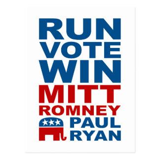 Romney Ryan Run Vote Win Postcard