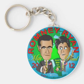 Romney Ryan USA Basic Round Button Key Ring