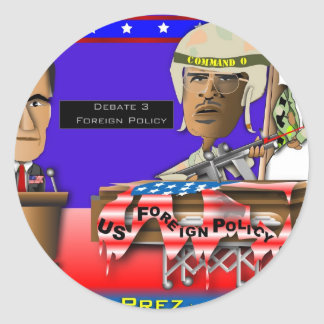 Romney vs Command O Round Sticker