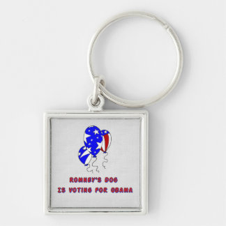 Romney's Dog Silver-Colored Square Key Ring