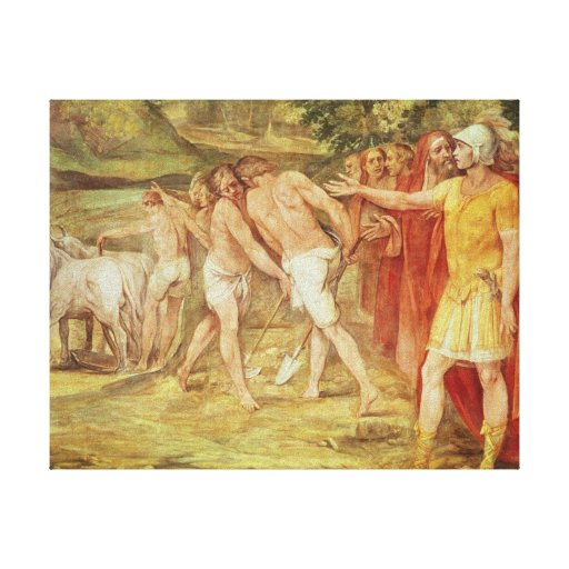 Romulus marking the limits of Rome Stretched Canvas Prints