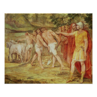 Romulus marking the limits of Rome Poster