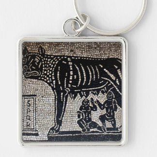 Romulus & Remus Silver-Colored Square Key Ring