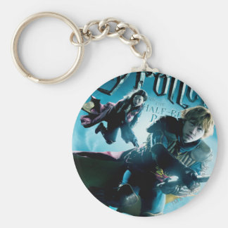 Ron and Ginny On Brooms 1 Basic Round Button Key Ring