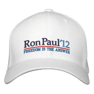 Ron Paul '12 Campaign style Hat Embroidered Baseball Caps