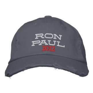 RON PAUL 2012 Embroidered Distressed Chino Twill Embroidered Cap