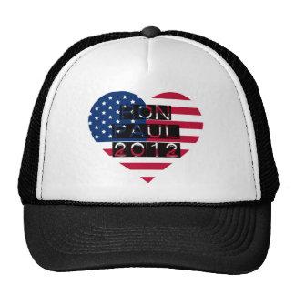 Ron Paul 2012 Heart American Flag Trucker Hat
