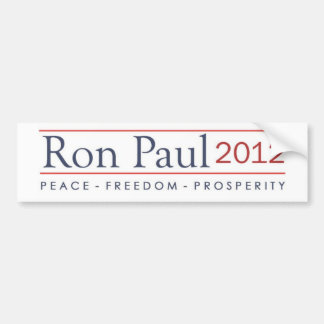Ron Paul 2012 Peace Freedom Prosperity Bumper Sticker