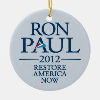 Ron Paul 2012 - Restore America Now Round Ceramic Decoration