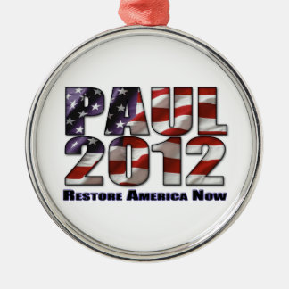 Ron Paul 2012 Restore America Now Silver-Colored Round Decoration