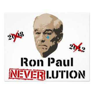 Ron Paul 2012 Revolution Neverlution 11.5 Cm X 14 Cm Flyer